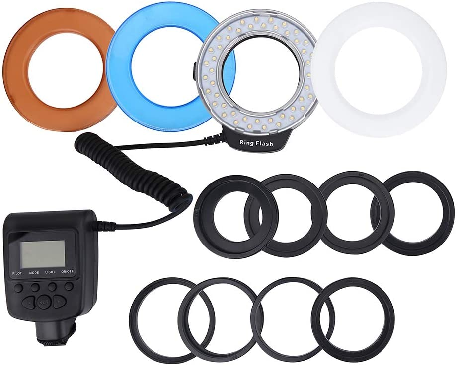 Ring Flash Light, Camera Ring Flash Portable LED Ring Flash Battery Operated Fill Light with Color Filters Adapter Photography