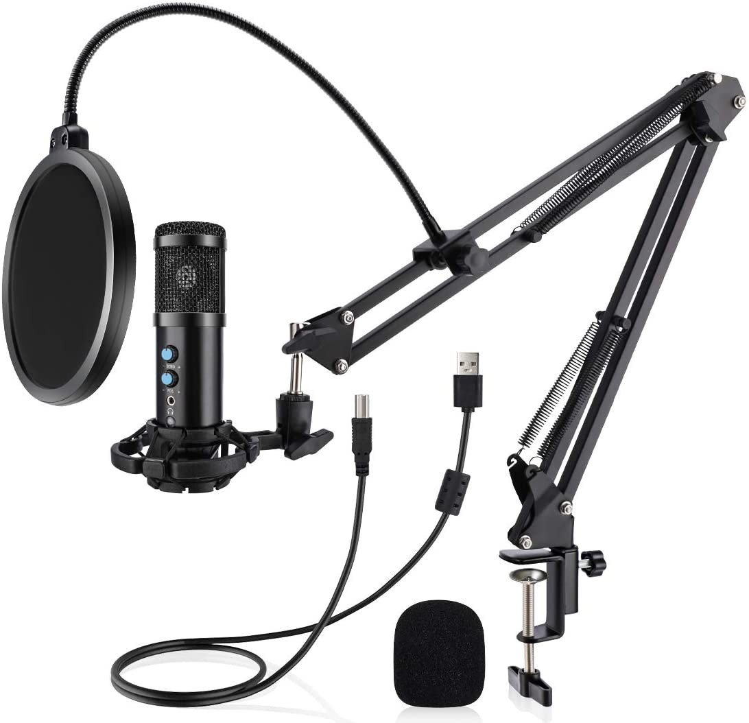 Studio Condenser USB Microphone Computer PC Microphone Kit by VORMOR with Adjustable Scissor Arm Stand Shock Mount for Instruments Voice Overs Recording Podcasting YouTube Karaoke Gaming Streaming