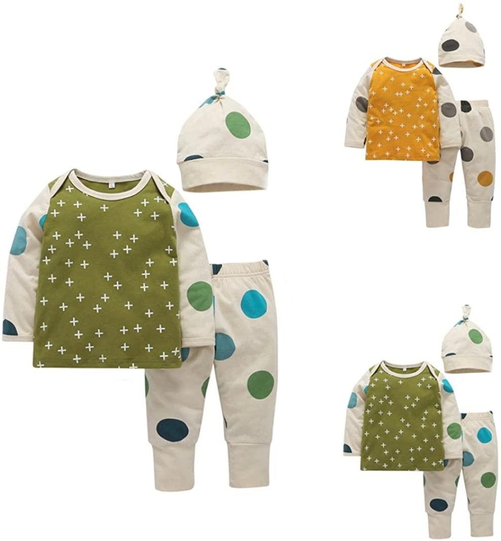 Lanpan Baby Girl Boy Print T shirt Tops+Pants+Hat Outfits Clothes Set