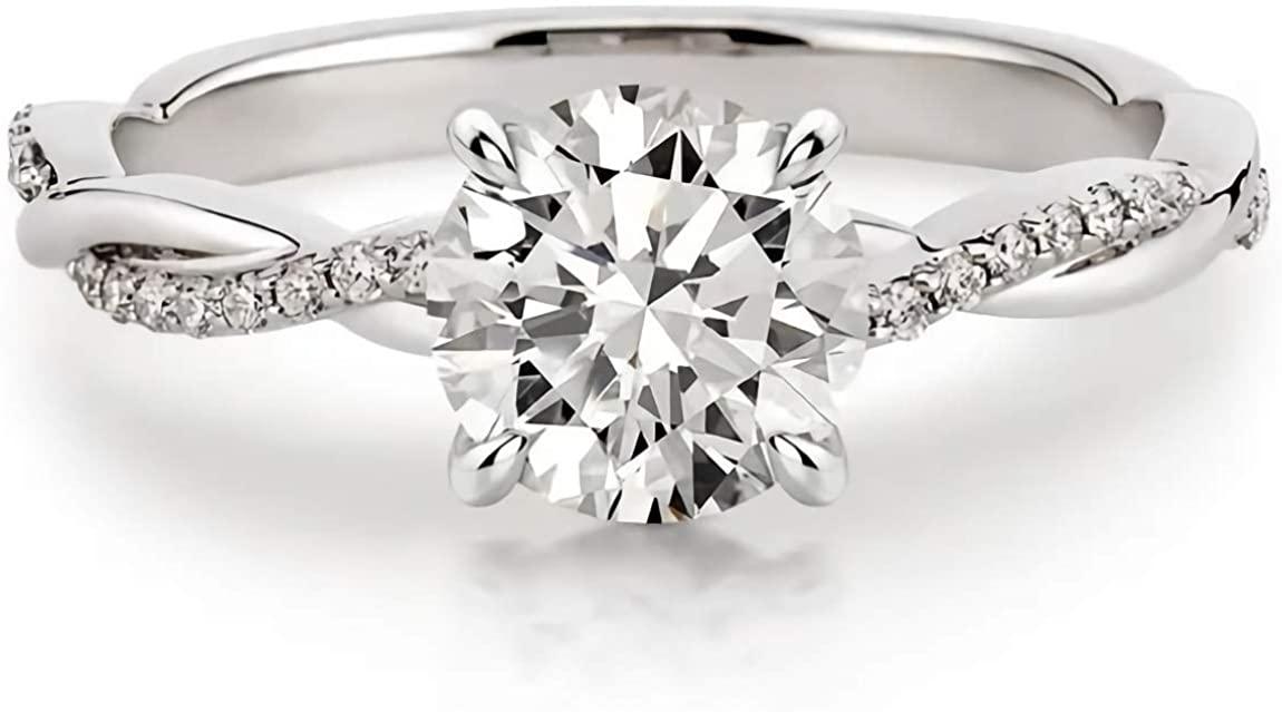 1.16 Carat (ctw) moissanite engagement rings for women - Platinum Plated Silver ring moissanite rings