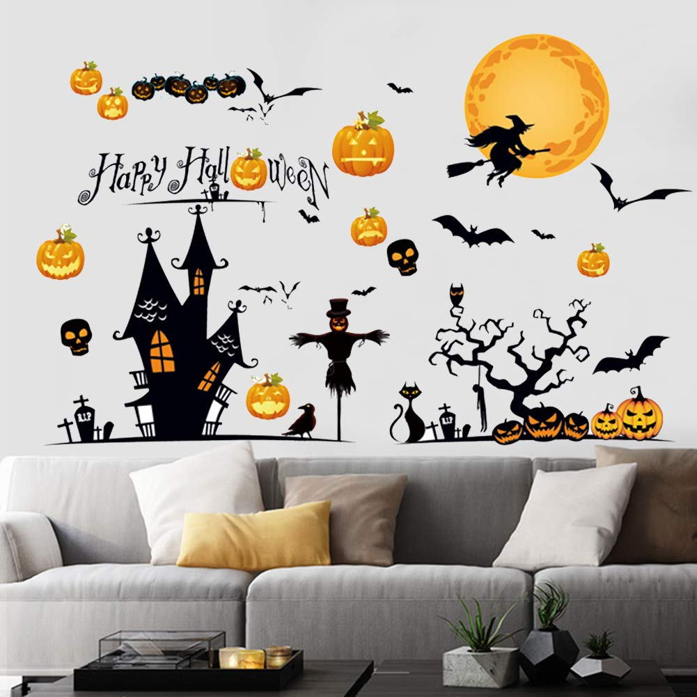 Happy Halloween Wall Stickers, Cemetery Castle Skeleton Cats Ghost Witch and Bats Wall Decals, Pumpkins Spooky Skeleton for Living Room Window Clings Halloween Party Decoration,Vinyl Gothic Wall Decor