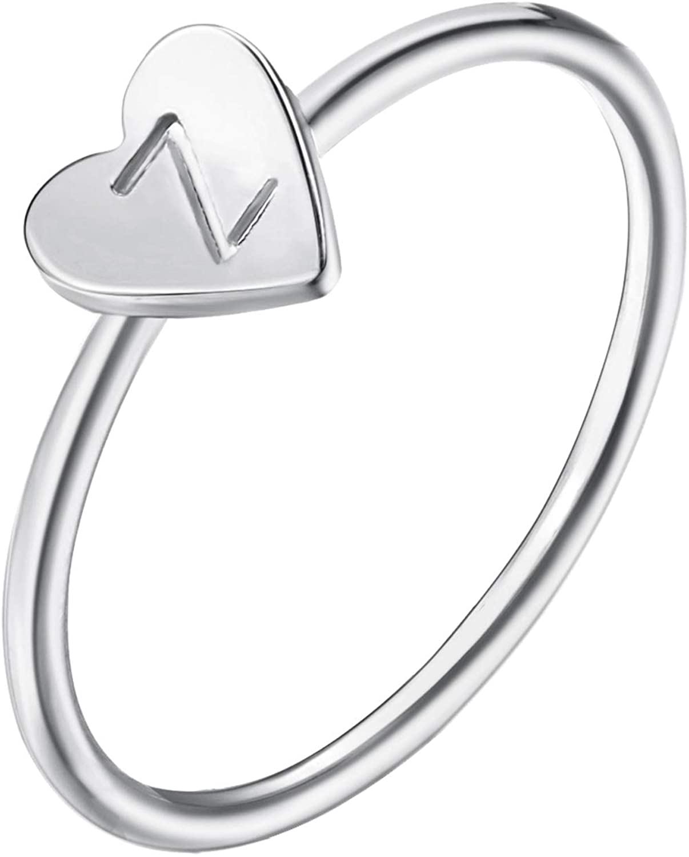 YANCHUN Silver Alphabet A-Z Initial Ring Heart Shaped Letter Rings for Women Girls