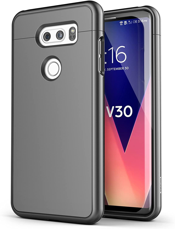 LG V30 Slim Case - Encased [SlimShield Edition] Full Coverage Protective Grip Cases (Gunmetal Grey)