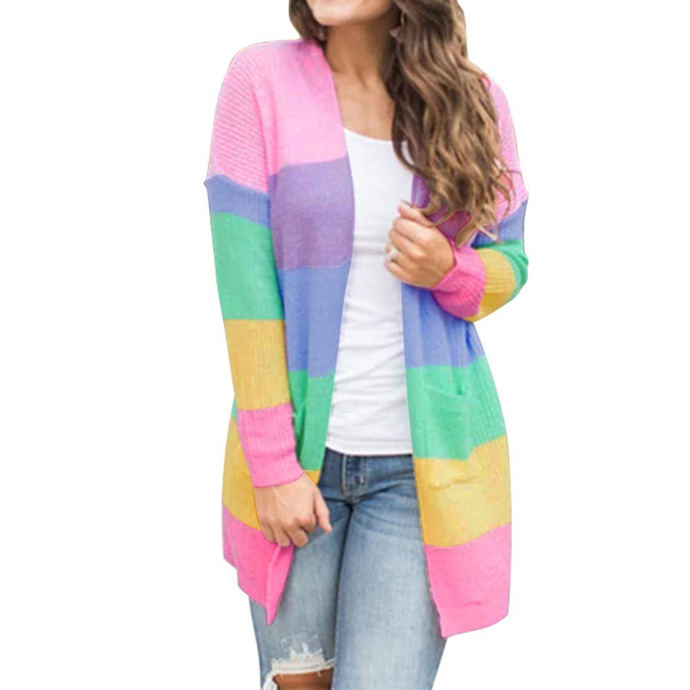 Blouses for Women Business Casual Plus Size Patchwork Long Sleeve Rainbow Stripe Cardigan Tops Sweater Coat Halloween Christmas Onsale Multicolor S