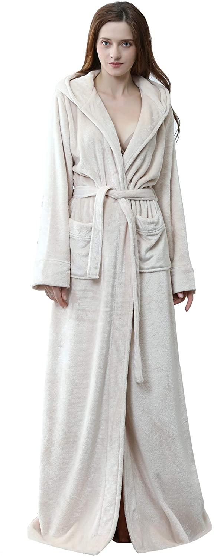 Long Hooded Robe for Women Soft Fleece Full Length Bathrobe Winter Warm Pajamas Shower Nightgown