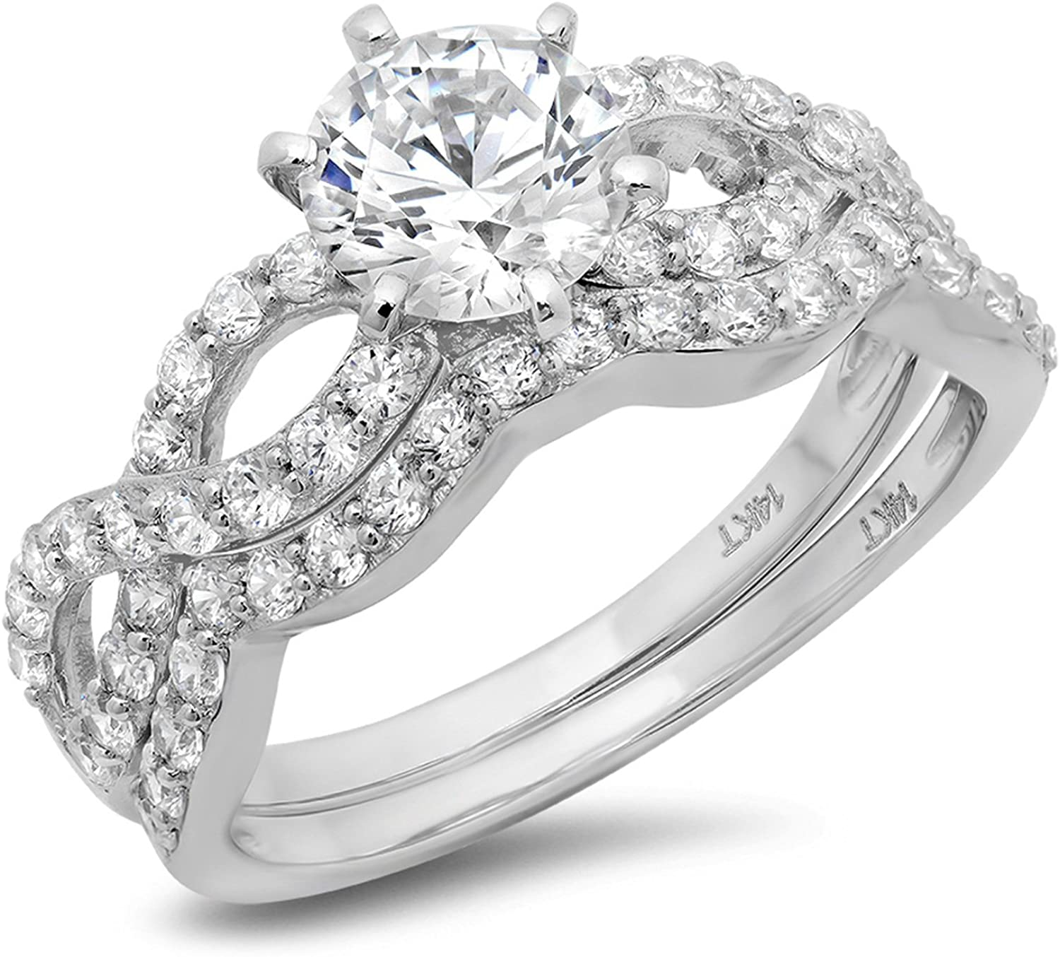 Round Cut Simulated Diamond 1.50 Ct Pave Halo Wedding Bridal Engagement Ring Band Cubic Zirconia 14K White Gold Ring For Women - Clara Pucci