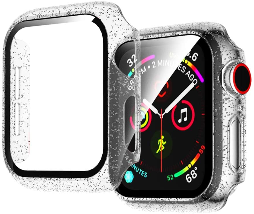 Compatible for Apple Watch Series 3 Series 2 1 42mm Shining Transparent Case with Built-in Tempered Glass Screen Protector, Ultra Thin Matte Hard PC Protective Cover Replacement for iWatch 3 2 1 Case
