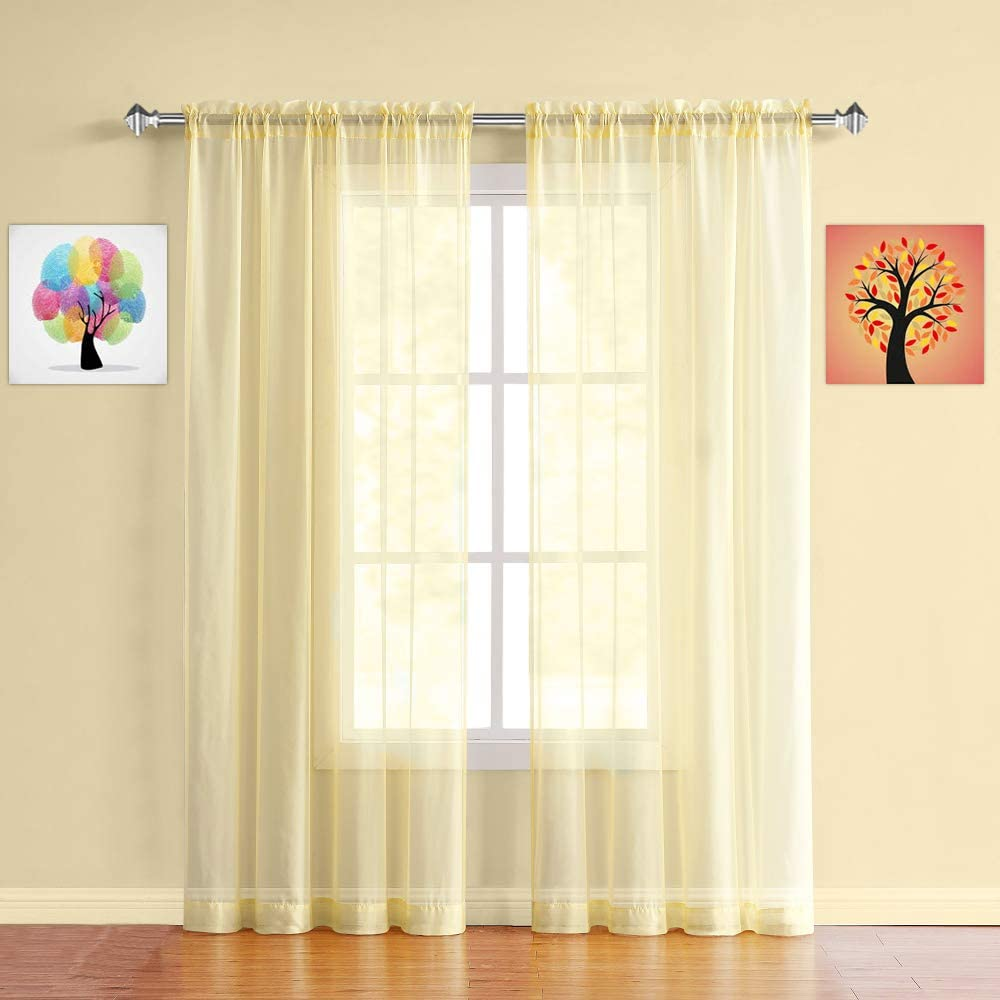 Warm Home Designs Pair of Standard Length Light Yellow Sheer Window Curtains. Each Voile Drape is 56 X 84 Inches in Size. Great for Kitchen, Living, Kids Room. 2 Fabric Panels. AM Yellow 84