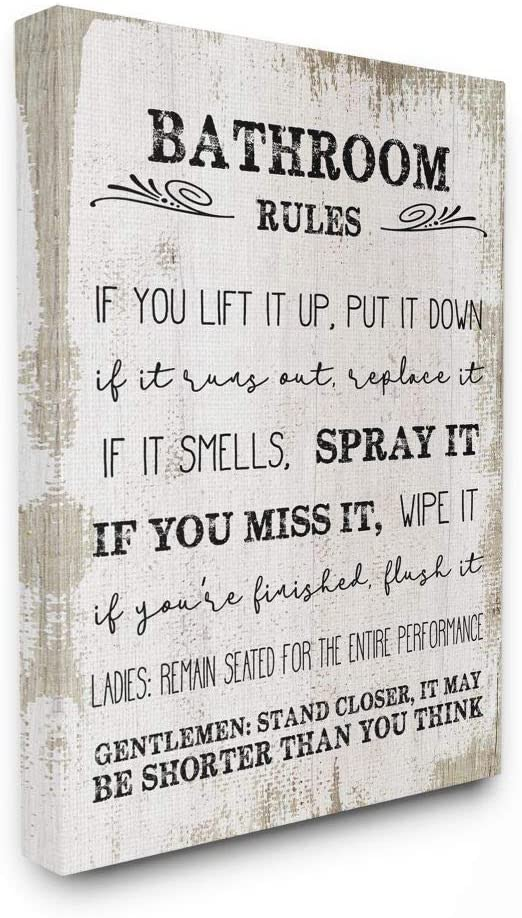 Stupell Industries Bathroom Rules Funny Word Wood Textured Design Canvas Wall Art, 30 x 40, Multi-Color