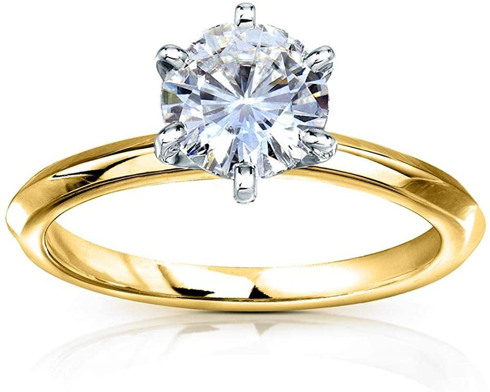 Kobelli Classic Solitaire Round Brilliant Moissanite Engagement Ring 1 Carat 14k Yellow Gold (FG, VS)