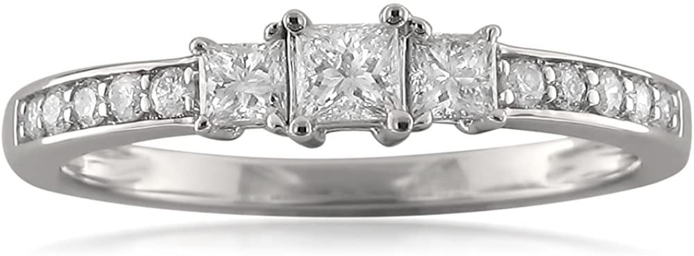 14k White Gold Three-Stone Princess-cut & Round Diamond Engagement Ring (1/2 cttw, I-J, I1-I2)