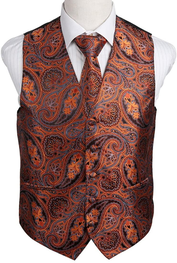 Epoint Men's Fashion Gift Giving Paisley Microfiber Dress Tuxedo Vest Neck Tie Set