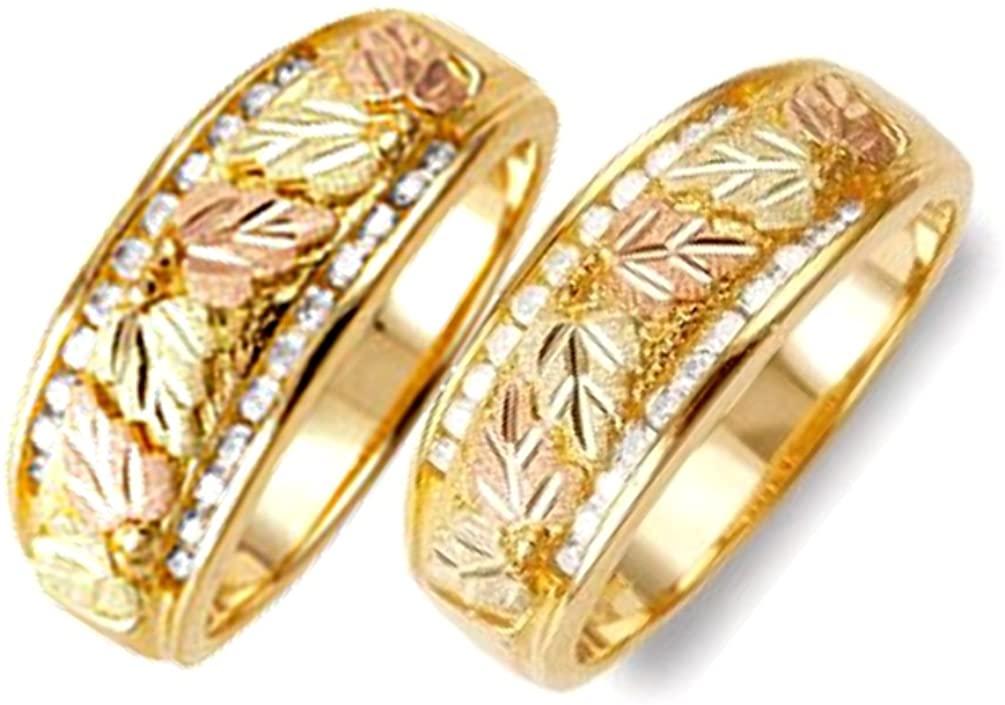 22-Stone Diamond Bands, 10k Yellow Gold, 12k Green and Rose Gold Black Hills Gold Motif Couples Wedding Ring Set