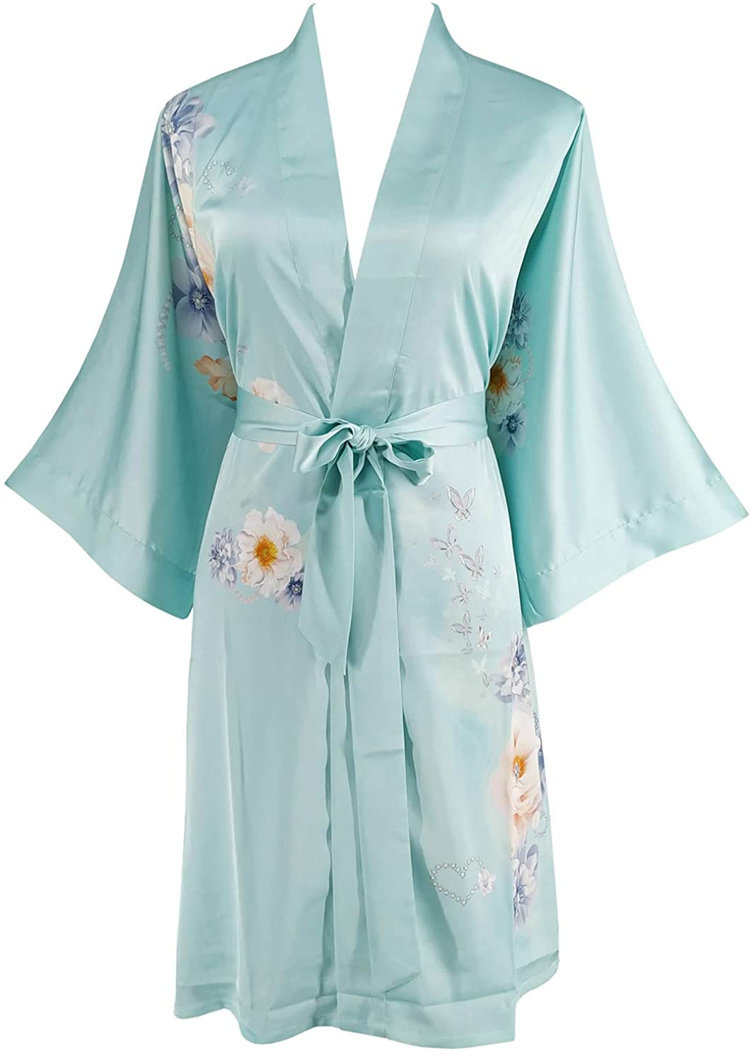 Ledamon Women's Kimono Short Robe - Classic Floral Bathrobe Nightgown