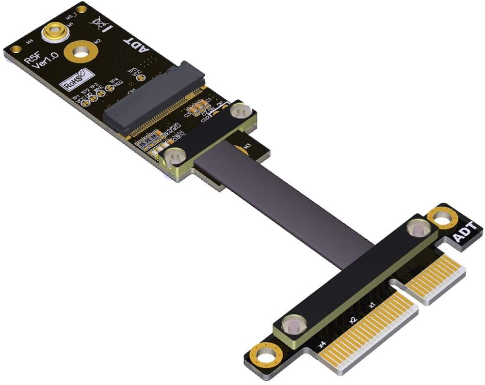 ADT-LINK PCIe x4 to M.2 A.E. Key WiFi Adapter Card Extension Riser Cable PCI-Express M2 A E Key Conversion Adapter (10cm)