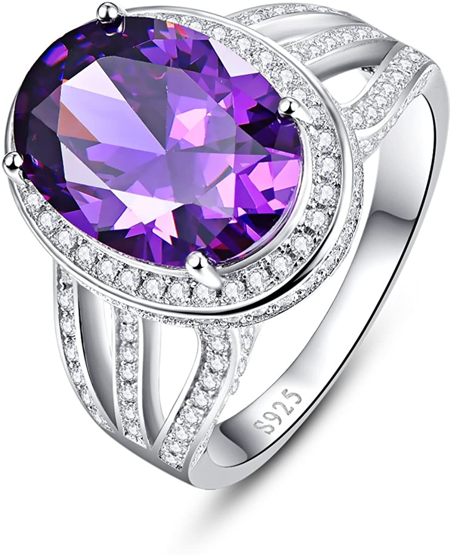 Auzeuner 925 Sterling Silver Oval 10x14mm Lab-Created Rainbow Topaz CZ Halo Wedding Ring for Women