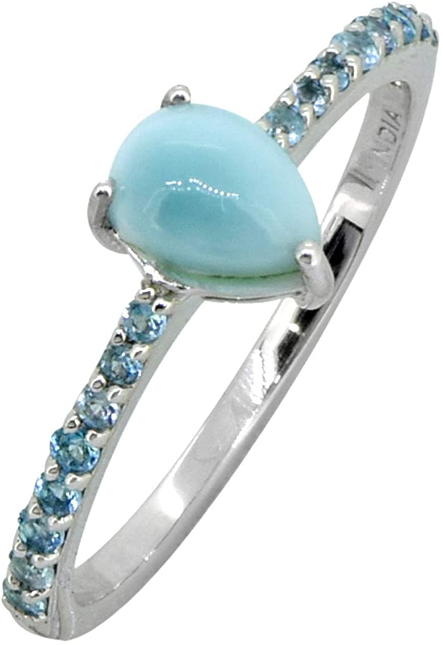 YoTreasure 1.19 Cts. Larimar London Blue Topaz Solid 925 Sterling Silver Ring