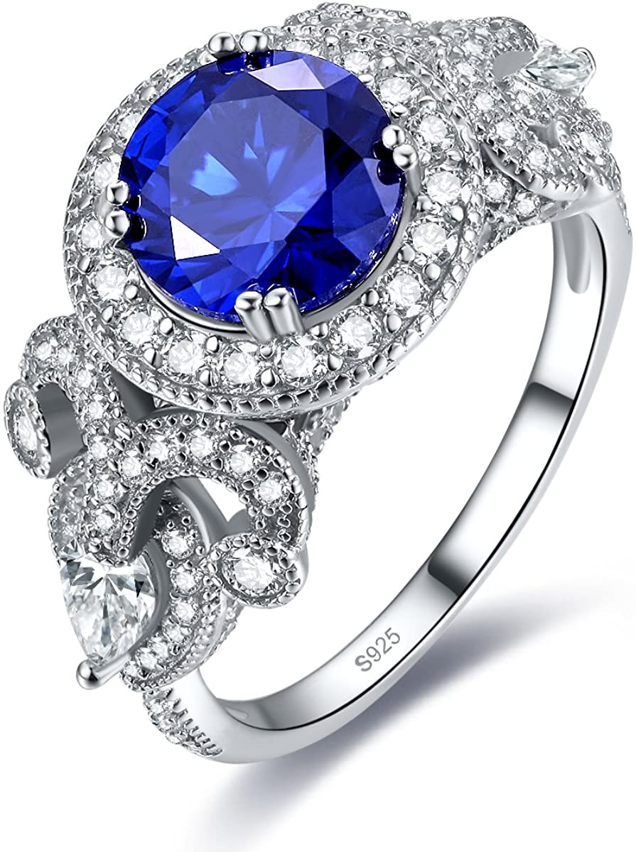 Auzeuner 925 Sterling Silver CZ Halo Round 8x8mm Lab-Created Blue Sapphire Wedding Ring for Women