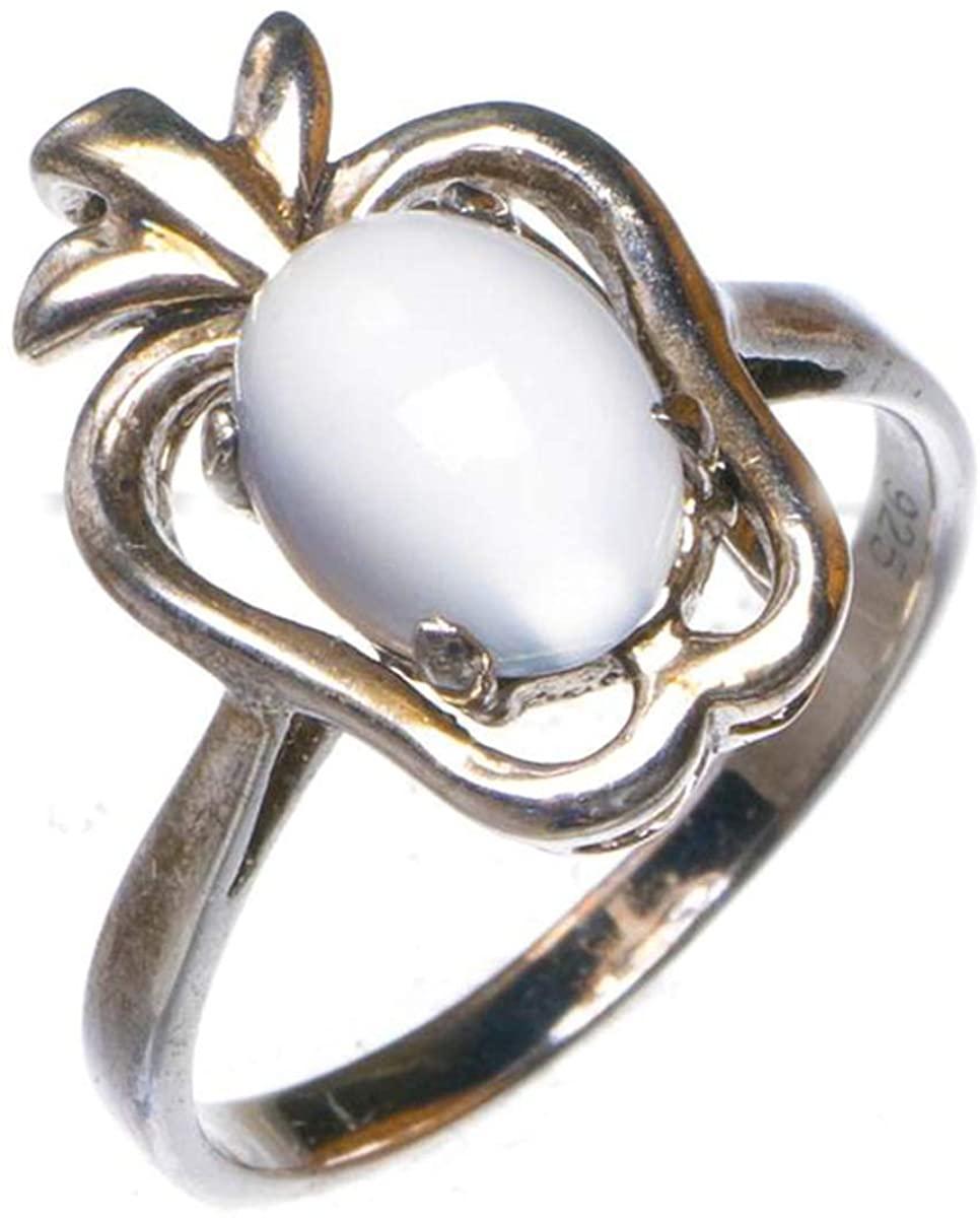 Natural Apple-Shape Cat Eye Handmade 925 Sterling Silver Ring D1147