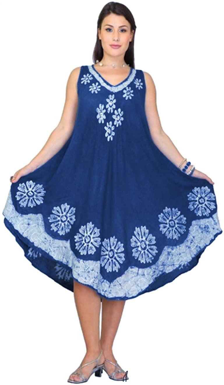 NF Women Embroidered Umbrella Pattern Dress Denim Dress Sleeveless Sundresses for Women