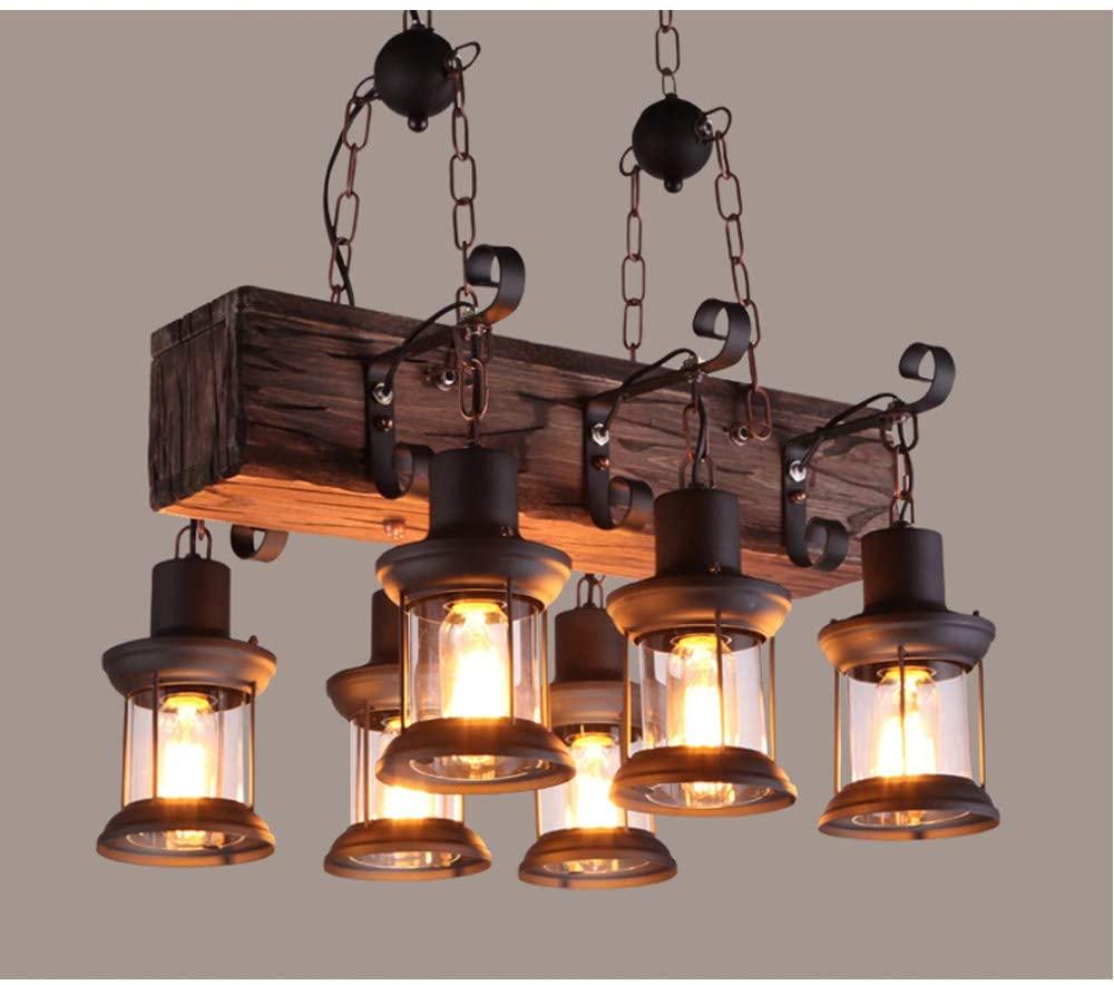 NIUYAO Farmhouse Style Dark Distressed Wood Beam Large Linear Island Pendant Light 6-Light Chandelier Lighting Hanging Ceiling Fixture 511210