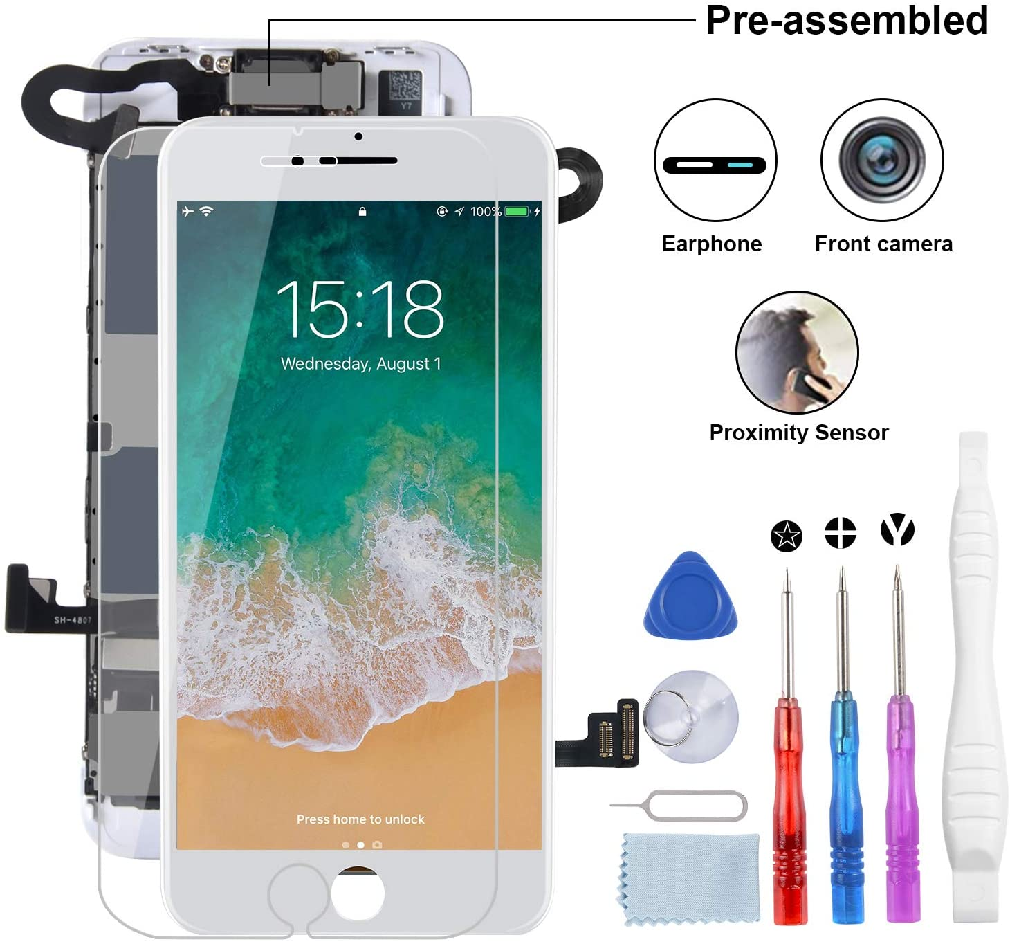 YPLANG for iPhone 8 Screen Replacement, LCD Display 3D Touch Screen Digitizer Full Assembly with Proximity Sensor, Ear Speaker and Front Camera (White)