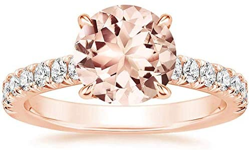 Elegant Touch 14K Rose Gold Plated Morganite and Diamond Flower Halo Ring 925 Sterling Silver