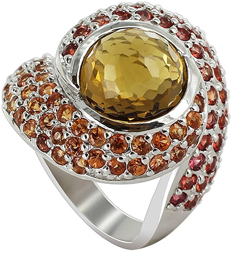 9mm Whisky Quartz with Sapphire Gemstone 925 Sterling Silver Ring Size 7.5