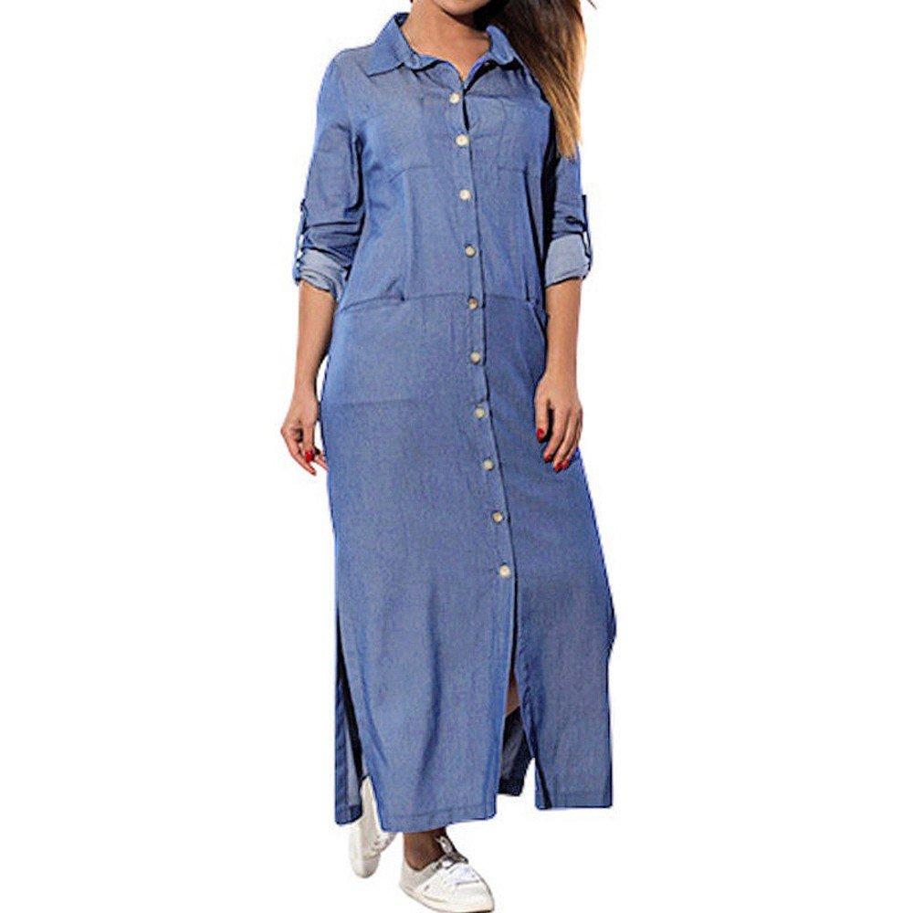 Womens Pockets Loose Swing T-Shirt Dress Long Sleeve Denim Solid Dresses Dress Long Sleeve Women Fashion Casual Print Party