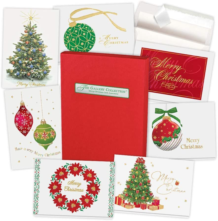 Christmas Cards Assortment Box (35 Greeting Cards) - with Foil and Embossing (Merry Christmas)