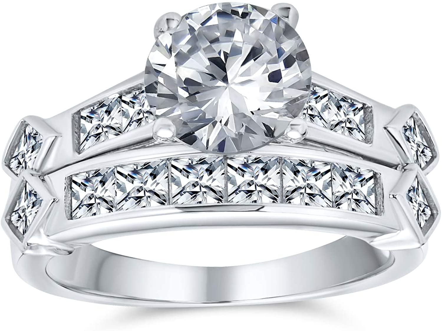 Art Deco Style 2CT Solitaire AAA CZ Round Anniversary Engagement Wedding Ring Band Set For Women 925 Sterling Silver