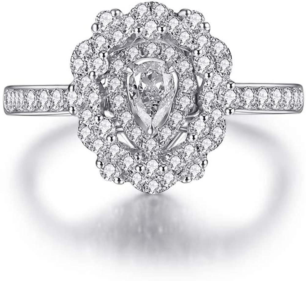 DUGISOWE 14K Gold Engagement Rings for Women 1-2/5 Carat(Ctw) Water-Drop Pear Shaped Moissanite Ring Personalized Custom Name Ring 10K 18K Yellow Gold Ring Proposal Wedding Ring