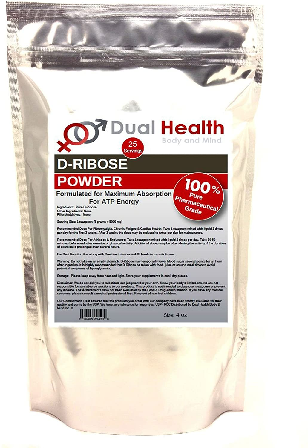 Pure D-Ribose Powder (4 oz) Bulk Supplements