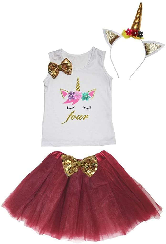 Leaf Sison Unicorn Birthday Shirt Wine Red Tutu Headband Costume 1-10y (Four, 4-5 Year)