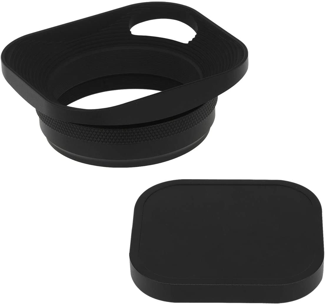 Haoge LH-E3P Square Metal Lens Hood Hollow Out Designed with 49mm Adapter Ring with Cap for Fujifilm Fuji FinePix X100 X100S X100T X70 X100F X100V Camera Replaces LH-X100 AR-X100 LH-X70 Black