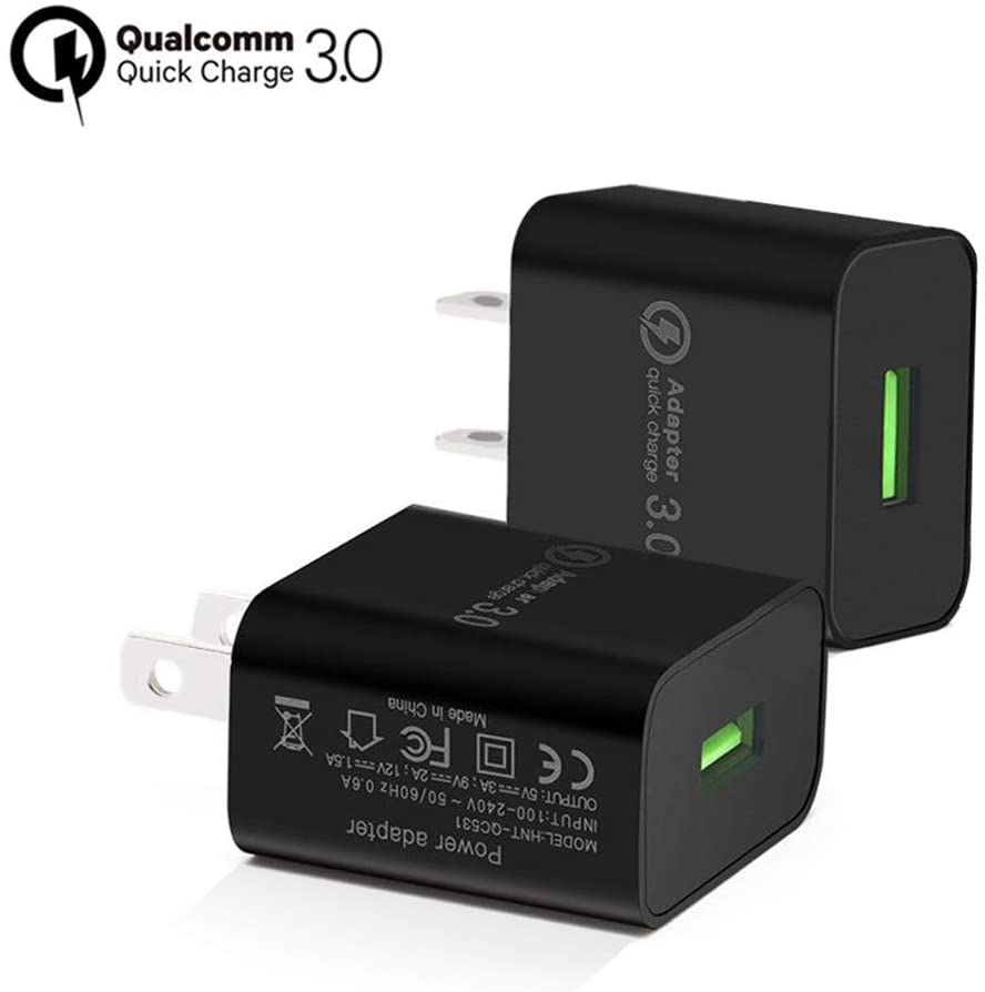 QC 3.0 Adapter,USB Wall Charger,Sungseng 18W Power Adapters Fast Charger Compatible with Wireless Charging Base,for iPhone, iPad, Samsung GalaxyS10 S9 S8,Note 8 9, LG, HTC 10 and More (Black-2-Pack)