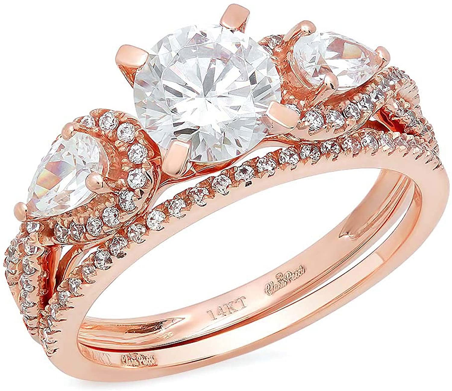 2.2 Ct Round Pear Cut Pave Halo Engagement Promise Wedding Bridal Anniversary Ring Band Set 14K Rose Gold, Clara Pucci