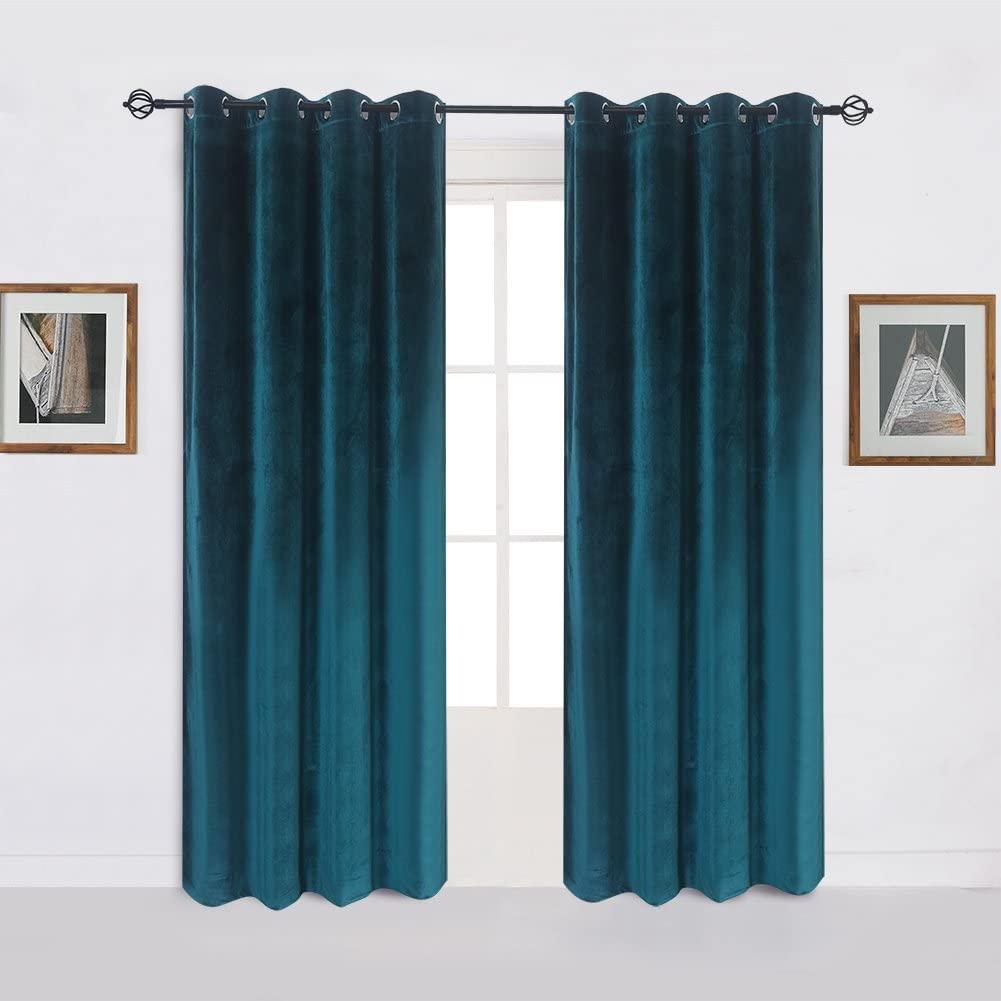 Cherry Home Super Soft Luxury Room Darkening VelvetDark Green Blackout Energy Efficient Grommet Curtain Panel Drapes Peacock Blue 52Wx63L,2 Panels