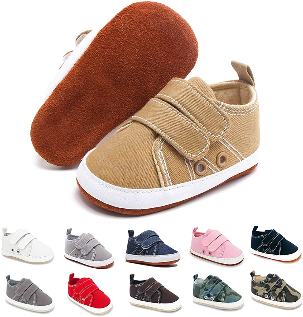 BENHERO Baby Boys Girls Shoes Canvas Infant Sneakers 100% Leather Anti-Slip Buttom Baby Walker Crib Shoes