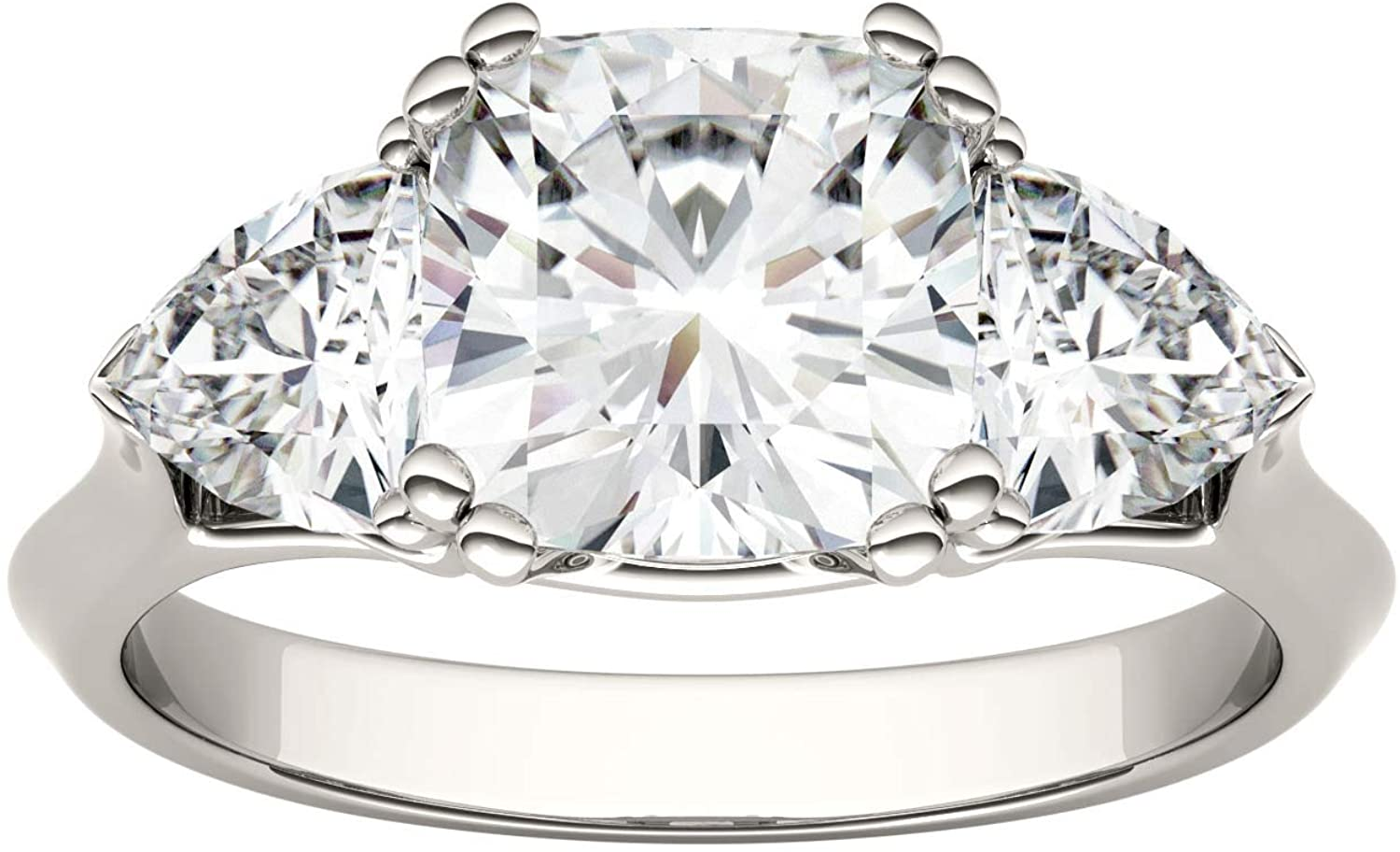 14K White Gold Moissanite by Charles & Colvard 7.5mm Cushion Engagement Ring, 3.00cttw DEW