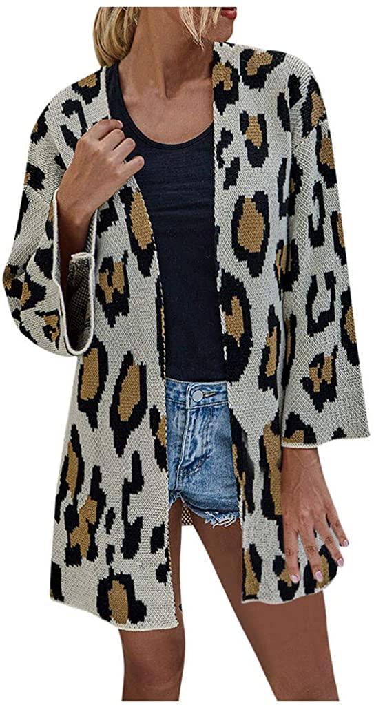Fainosmny Knit Sweater Tops for Women Loose Printing Medium Length Shawl Sweater Cardigan