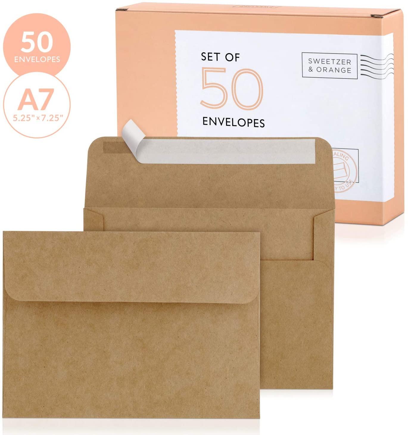 Sweetzer & Orange, Kraft Envelopes Self Seal. 50x Envelope with Box. Mailing Envelopes 5x7 (True 5.25 x 7.25 in.) Brown 150gsm Self Sealing Envelopes, Blank A7 Envelopes for Invitations and Wedding