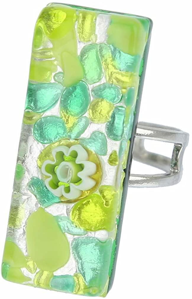 GlassOfVenice Murano Glass Venetian Reflections Rectangular Adjustable Ring - Green Silver