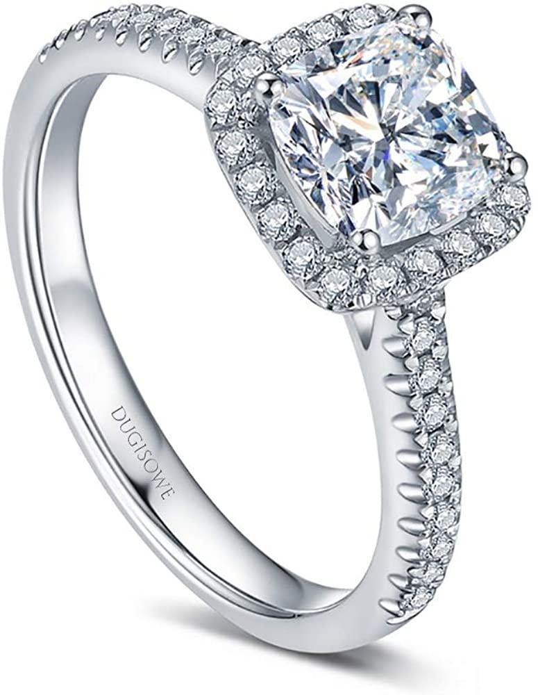 18K Gold Engagement Ring 1.5 Carat(Ctw) Square Moissanite Ring Personalized Engraving Name, 10K 14K White Gold Ring Lovers Ring Wedding Ring for Women Free Personalized Engraving Name