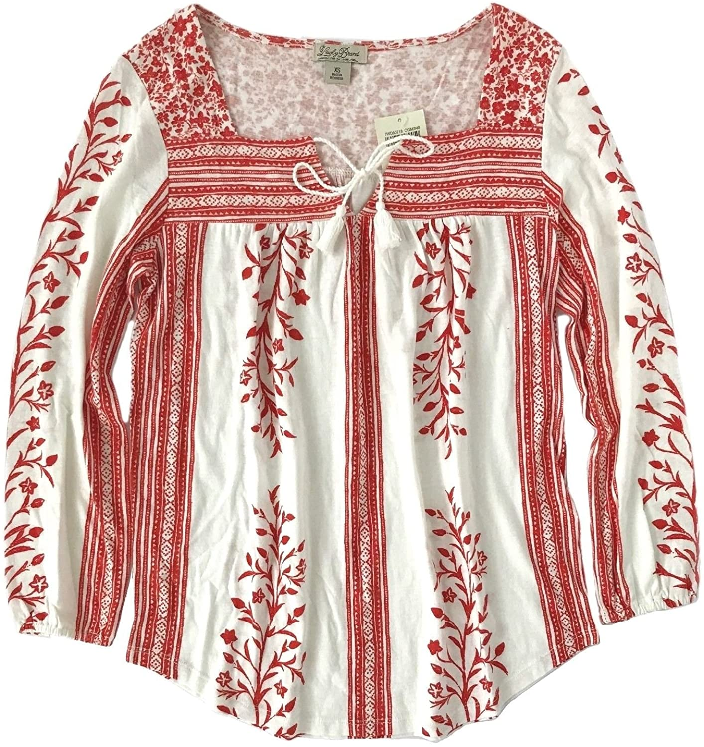 Lucky Brand Women's Floral Striped Peasant Knit Top