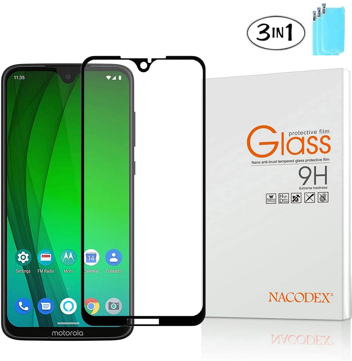 Protective Screen Guard Compatible Motorola Moto G7 Plus, Nacodex [3 Pack] Tempered Glass LCD Screen Protector for Moto G7 Plus -Black