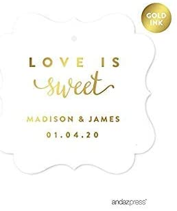 Andaz Press Personalized Fancy Frame Square Wedding Gift Tags, Metallic Gold Ink, Love is Sweet, 24-Pack, Custom Made Any Name