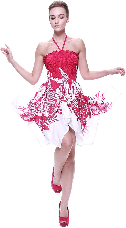 Womens Hawaiian Gypsy Fairy Uneven Bottom Luau Dress in Indri Black or Pink