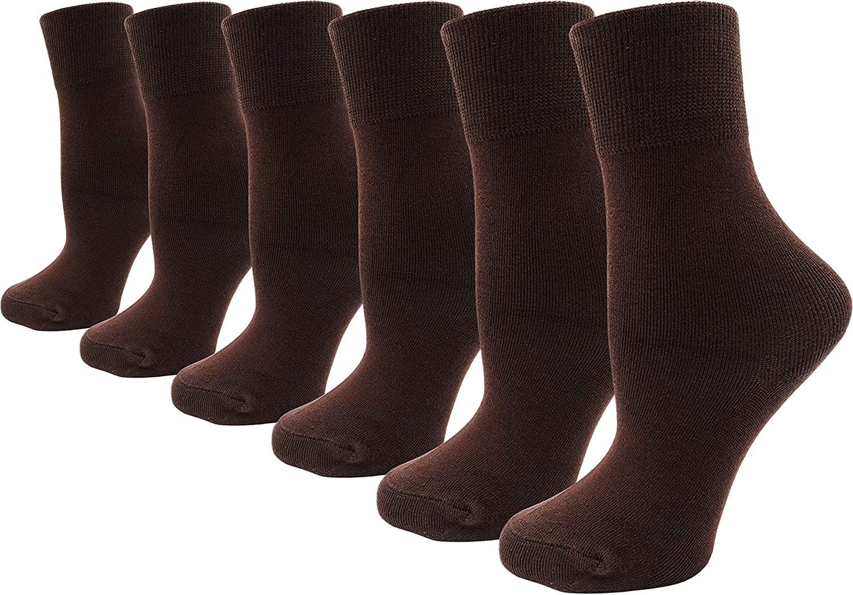 Womens Bamboo Dress Socks, 6 Pairs Premium Ultra Soft Cushioned Crew Socks Bulk Pack