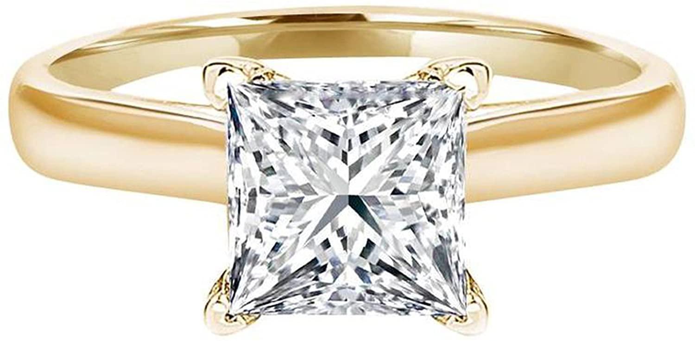 Princess Cut Simulated Diamond 1.50 Ct Wedding Bridal Engagement Ring Cubic Zirconia 14K Yellow Gold Ring For Women - Clara Pucci